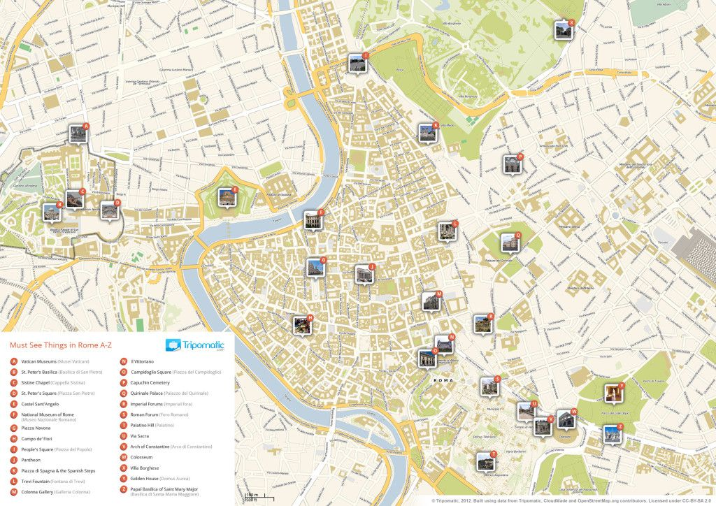 Roma attractions map