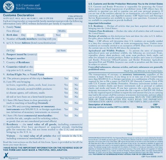 US Customs and Border Protection Customs Declaration Form