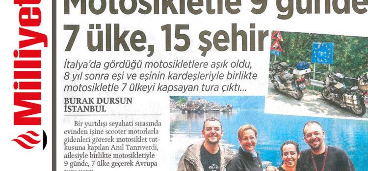 Motosiklet ile Avrupa Gezimiz Milliyet Gazetesinde
