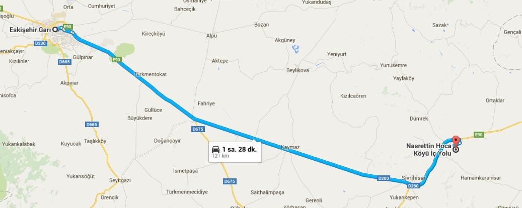 Eskişehir Garı_Nasreddin Hoca Köyü Haritası