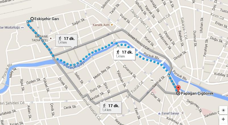 Eskişehir Garı - Papağan Çiğ Börek Evi Harita