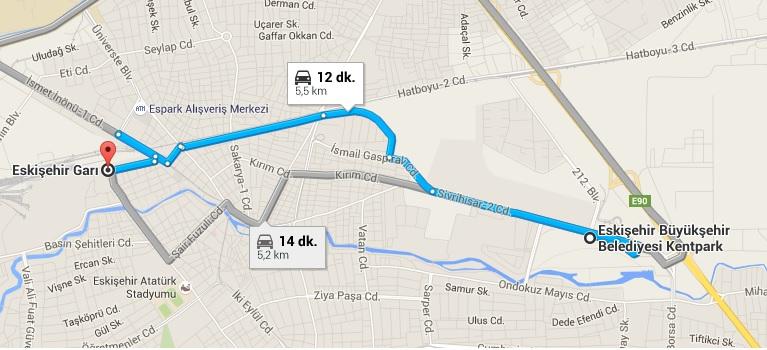 Eskişehir Gar_Kent Park Haritası