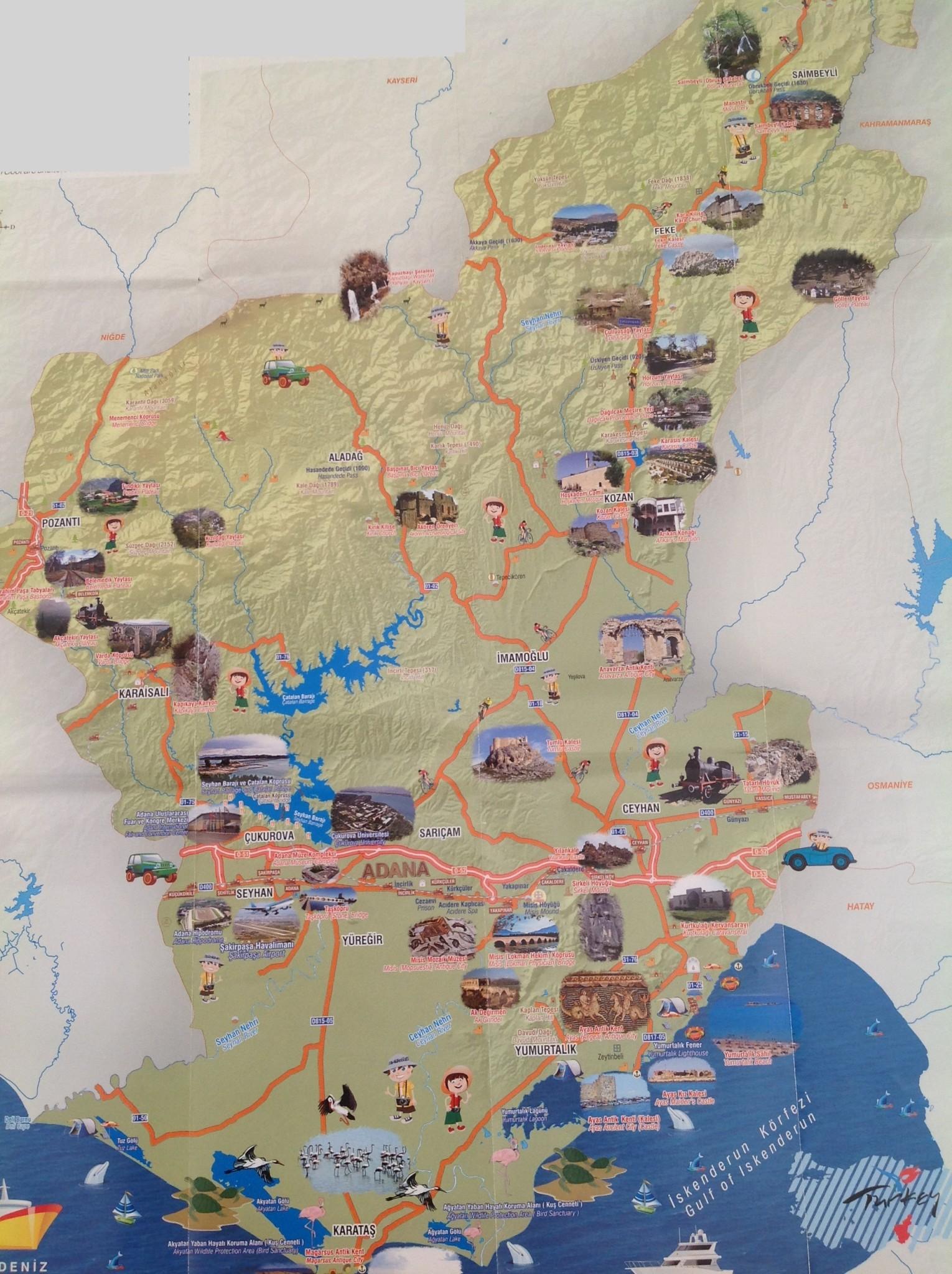 Adana Diğer Gezilecek Yerler Haritası