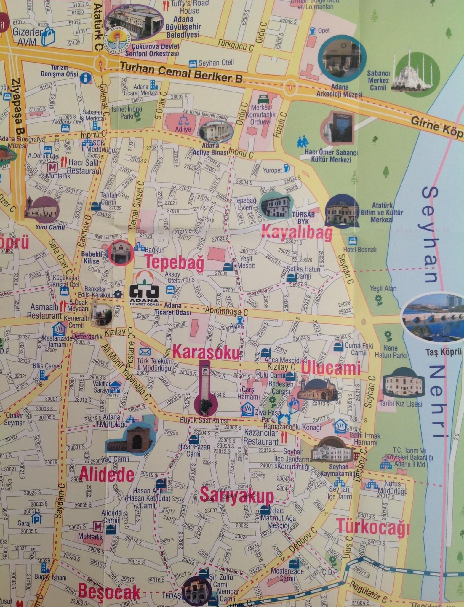 Adana Gezilecek Yerler Haritası